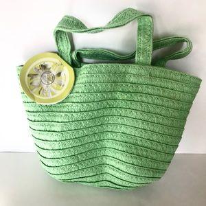 The Body Shop Green Straw Raffia Mini Bag Tote
